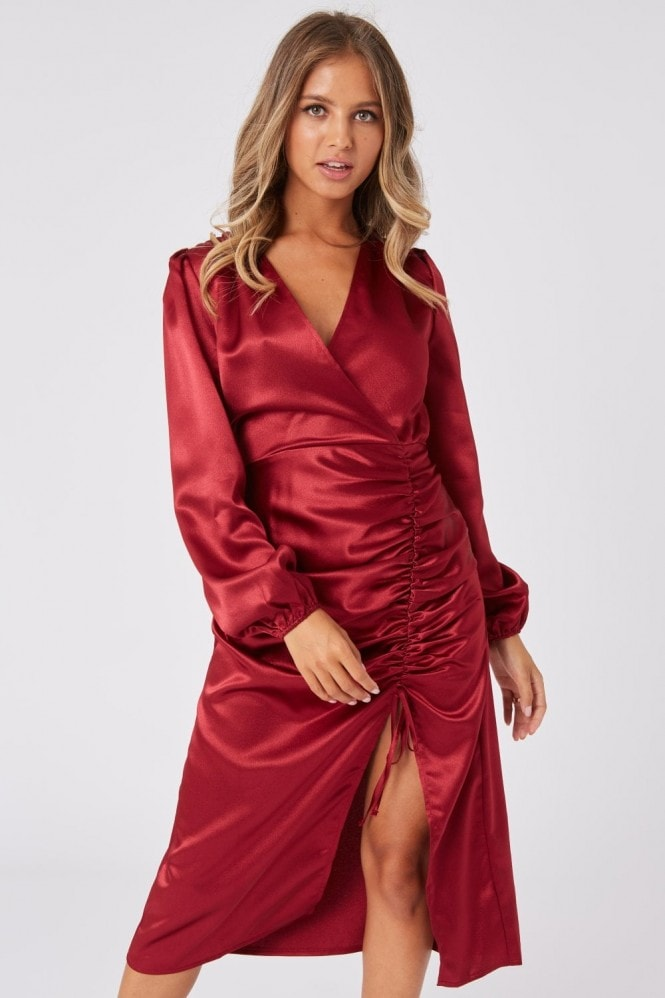 Girls on Film Margarita Burgundy Satin Ruched Midi Dress