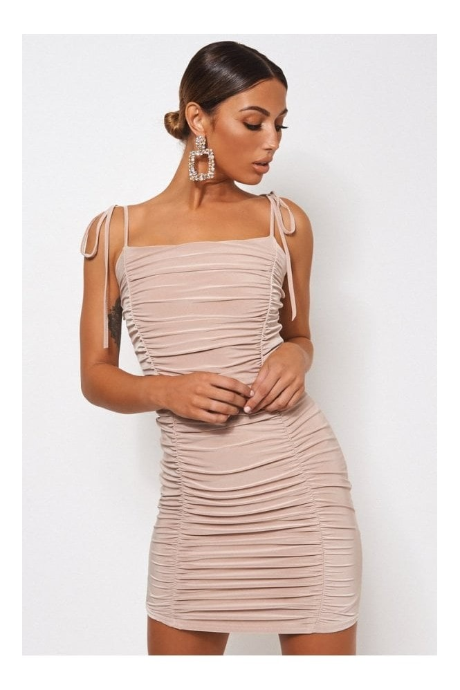 The Fashion Bible Champagne Ruched Bodycon Dress