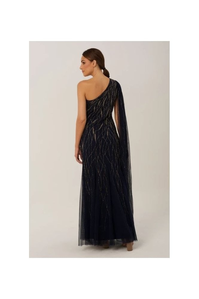 Raishma Navy One Shoulder Gown