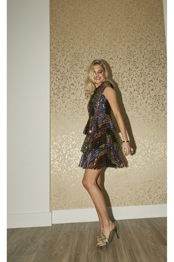 Little Mistress Trixie Rainbow Sequin Tiered Shift Dress