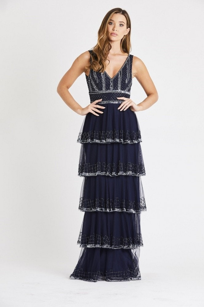 Lace & Beads hand embellished deep V maxi dress with a soft mesh layered skirt