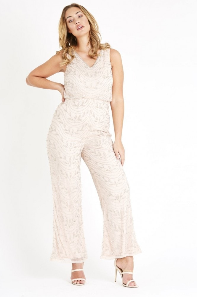 Lace & Beads hand embellished jumpsuit with elastic waist and a wide leg