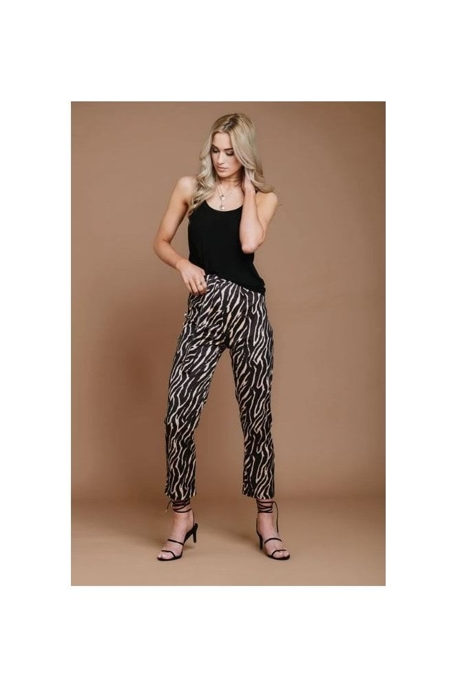 Haus Of Deck Tiger Print Mid Waist Trousers