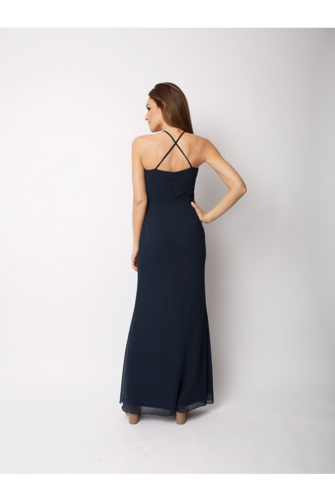 Raishma Navy Maxi Dress In with Halter Neck and Slit