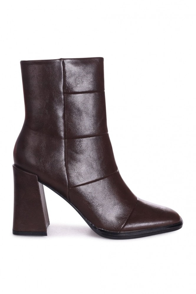 Linzi SIMPLY - Brown Nappa Square Toe Boot With Block Heel