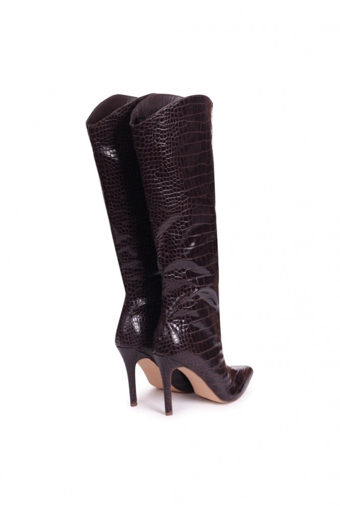 Linzi CONNIE - Brown Croc Patent Cowboy Style Stiletto Long Boot