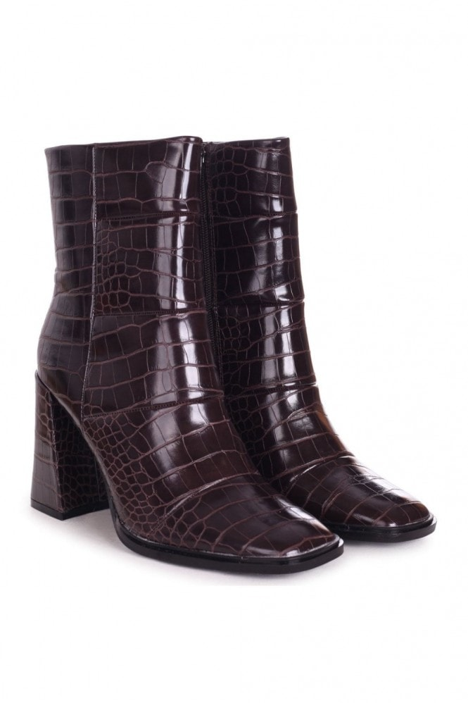 Linzi SIMPLY - Brown Croc Square Toe Boot With Block Heel