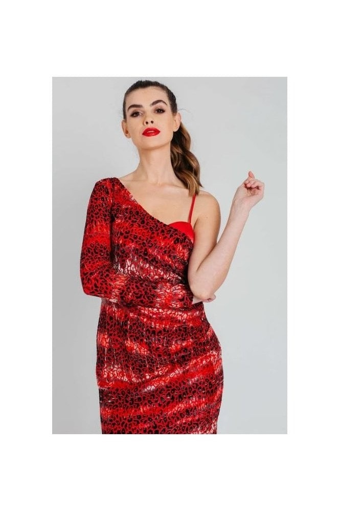 Pretty Darling Velvet Burnout Draped One Shoulder Mini Dress in Red Leopard