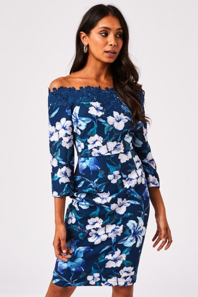 Paper Dolls Pasadena Navy Floral-Print Bardot Dress