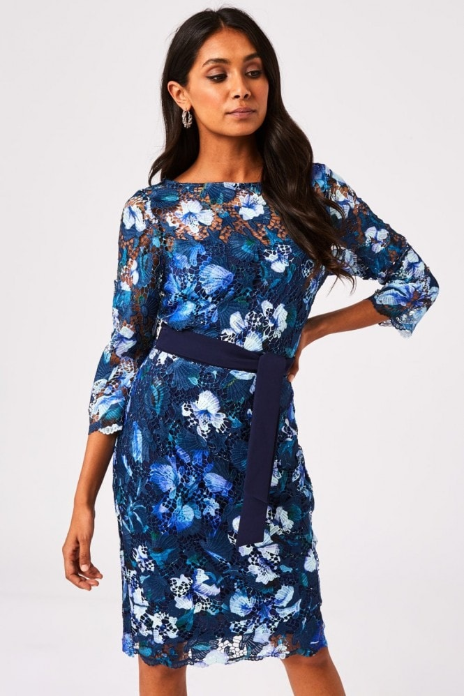 Paper Dolls Nuoro Navy Floral-Print crochet lace Midi Dress