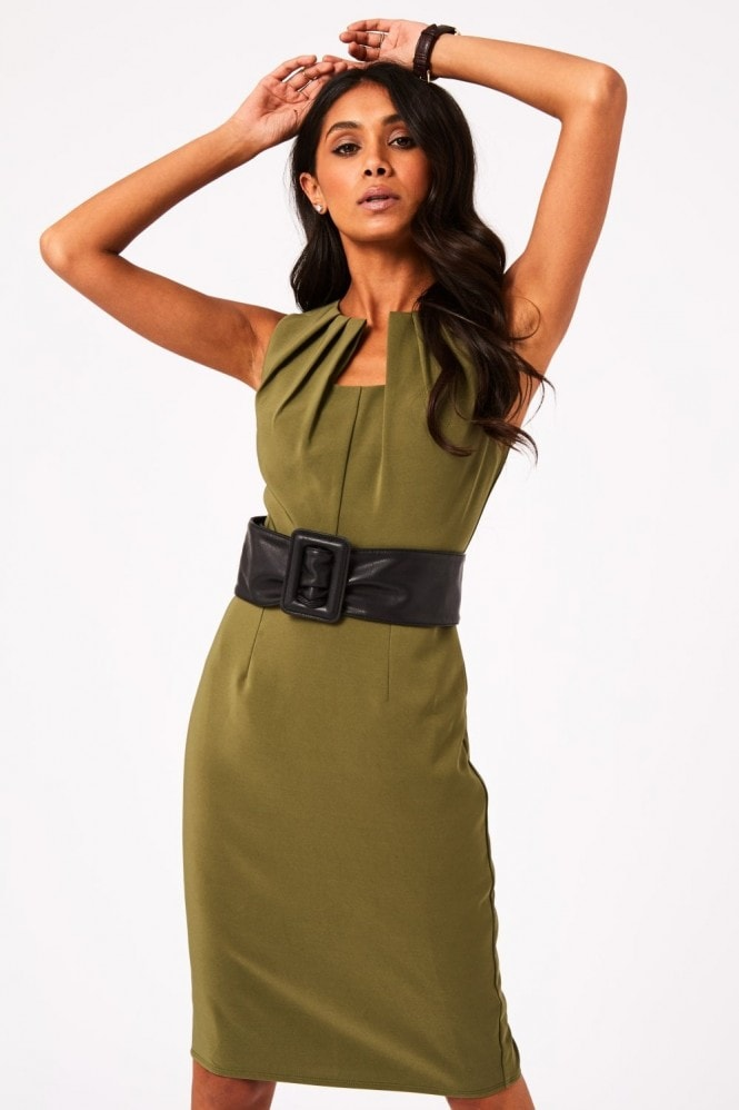 Paper Dolls Lauro Khaki Belted Pencil Dress