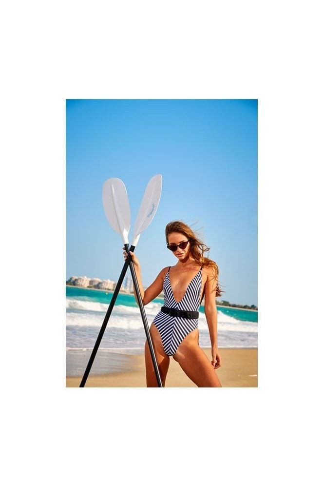 Candypants Stripe Belted Plunge Swimsuit