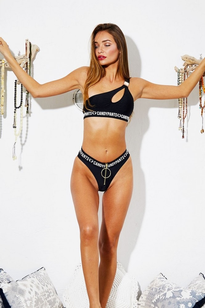 Candypants Black High Waist Bikini Brief with Zip