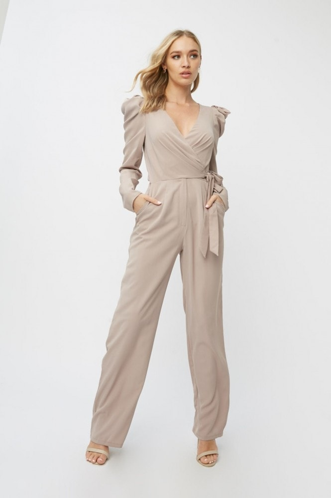 Little Mistress Leonora Oyster Puff Sleeve Wrap Jumpsuit