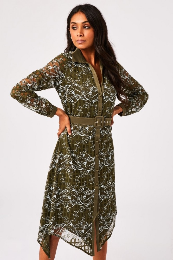 Paper Dolls Arzana Khaki Lace Check Belted Midi Shirt Dress