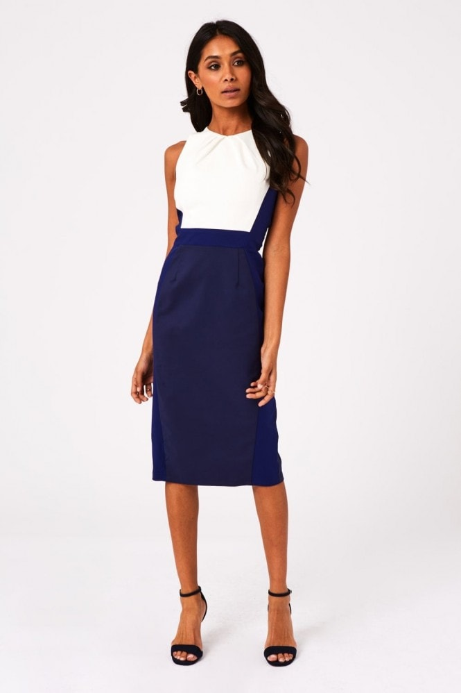 Paper Dolls Cabra Navy Colour Block Midi Pencil Dress