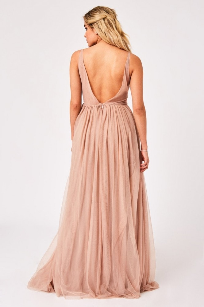 Little Mistress Issey Mink Hand Embellished Tulle Maxi Dress
