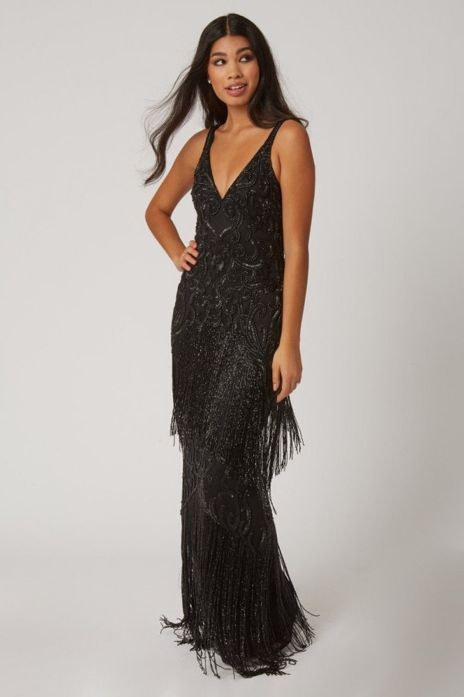 Little Mistress Karla Black Fringed Flapper Maxi Dress