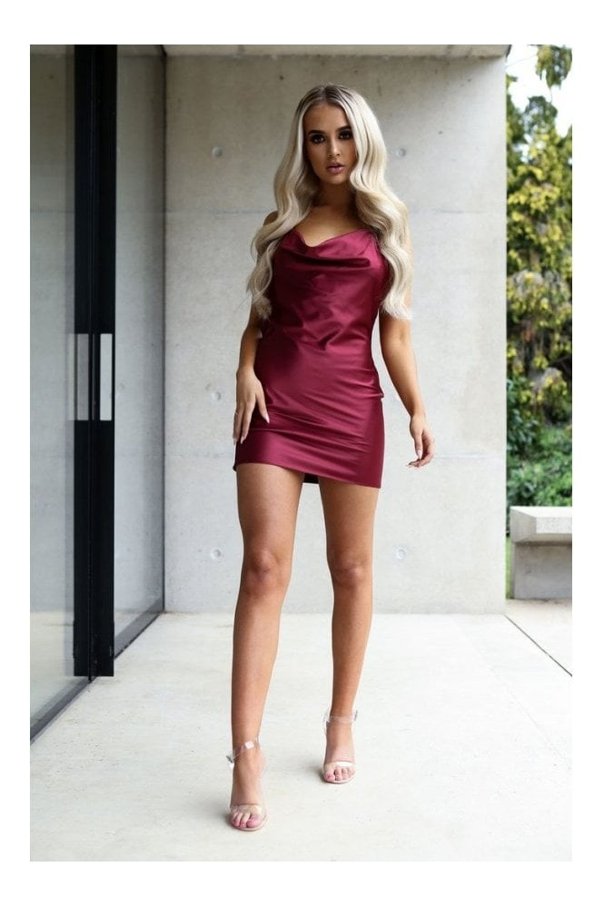Naked Dresses Cora Berry Satin Luxe Mini Dress