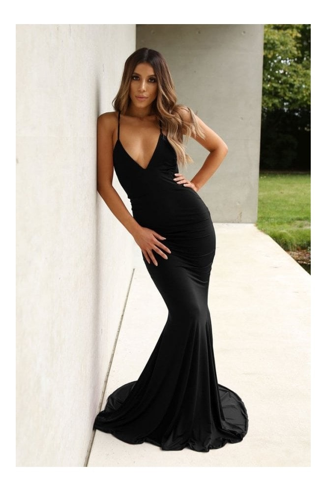 Naked Dresses Bella Black Backless Evening Maxi Gown