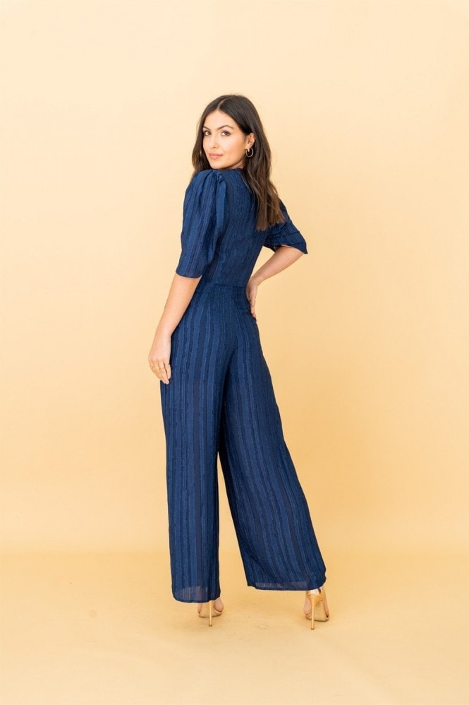 LIENA V-neck Plunge Jumpsuit in Navy Ruffle