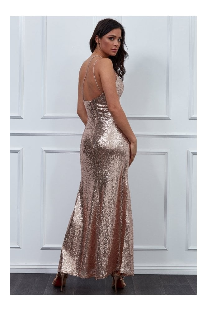 Goddiva Vicky Pattison Champagne One Shoulder Sequin Maxi Dress