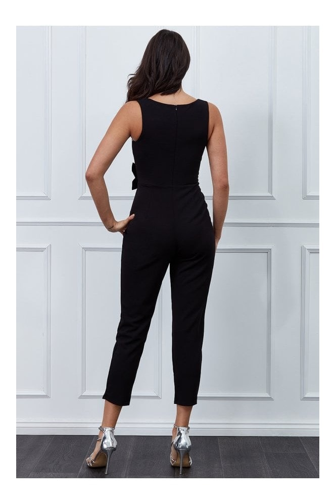 Goddiva Vicky Pattison Black Buckle Plunge Jumpsuit