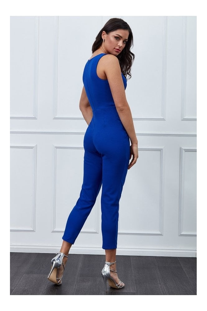 Goddiva Vicky Pattison Royal Blue Buckle Plunge Jumpsuit