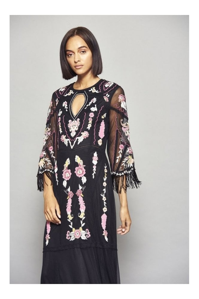 Frock and Frill Gianna Embroidered Flare Sleeve Maxi Dress