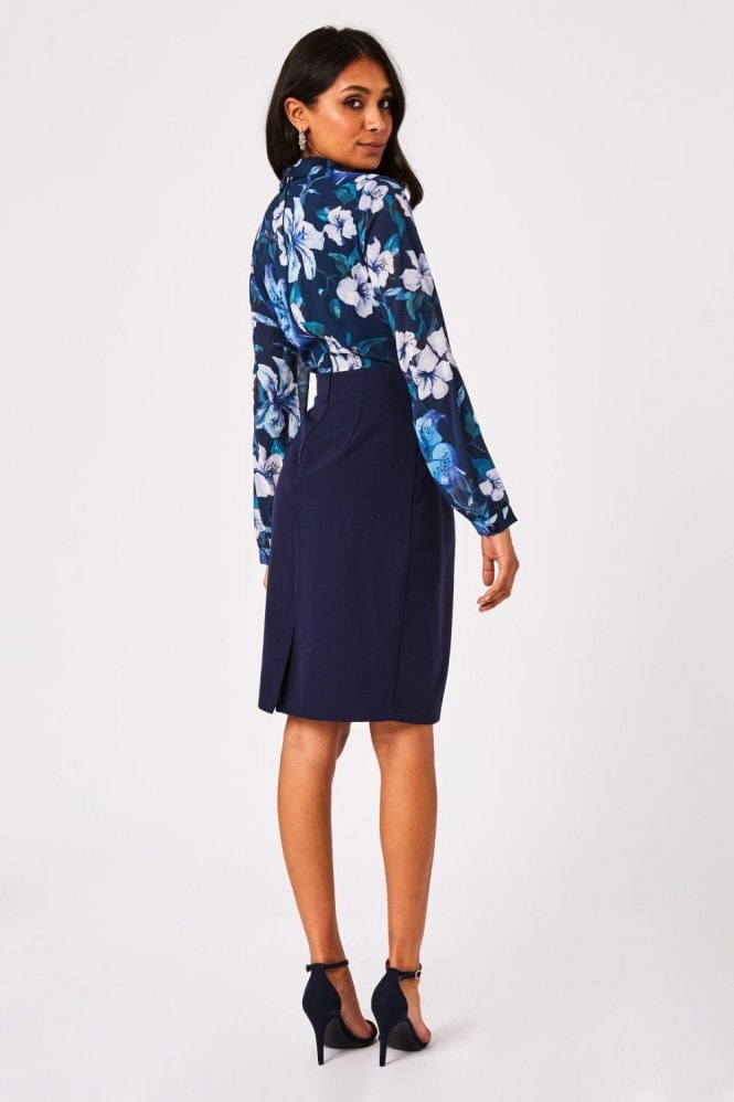 Paper Dolls Cervo Navy Floral-Print Mock Wrap Pencil Dress