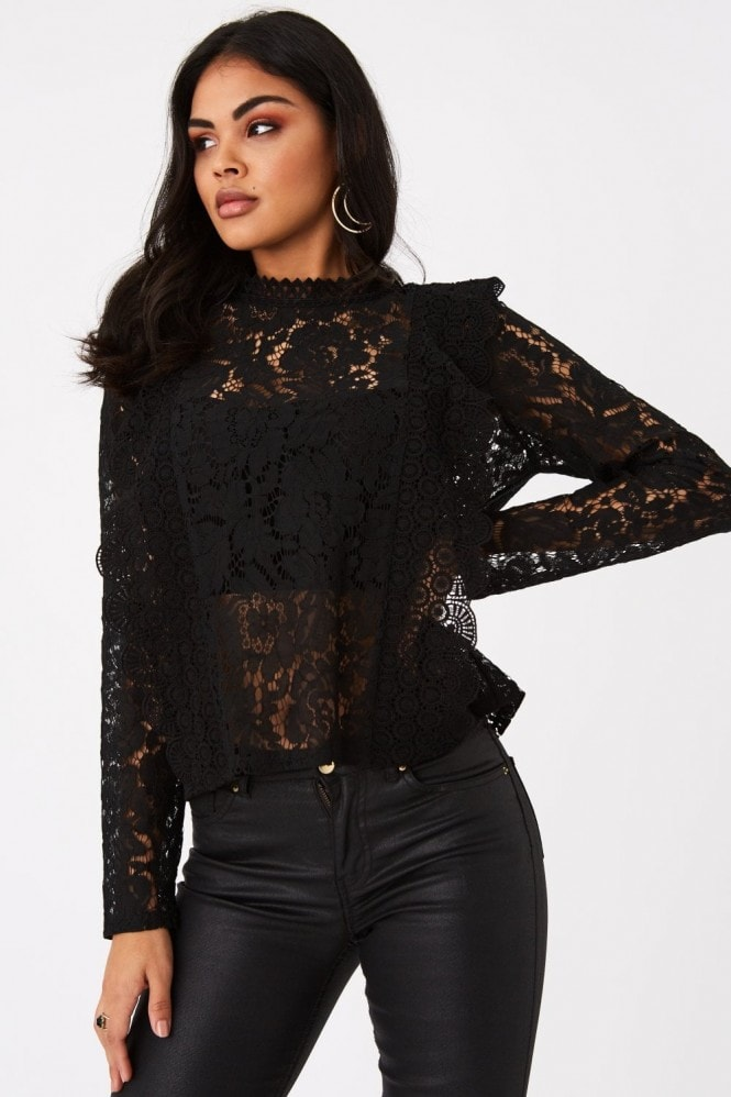 Girls on Film Merci Black Lace Top
