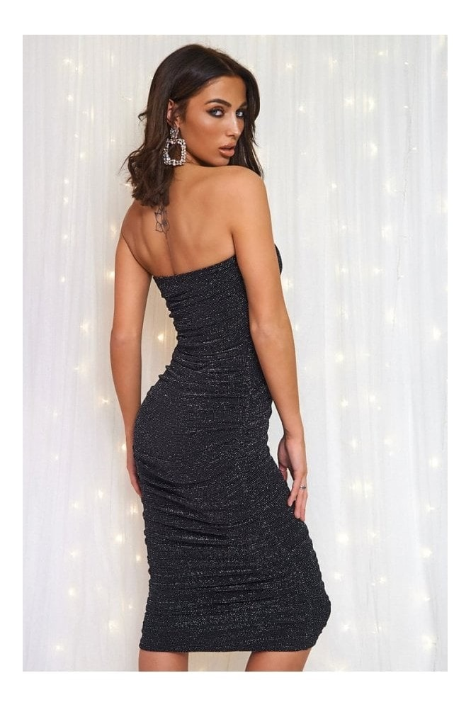 The Fashion Bible Lois Black Sparkle Ruched Strapless Bodycon Dress