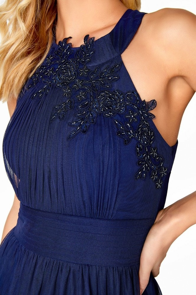 Little Mistress Navy Maxi Dress With Floral Applique