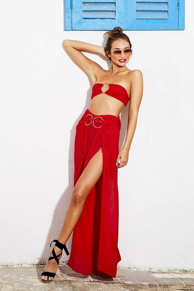 Candypants Outlet Red Ring Detail Chiffon Bandeau and Maxi Skirt Co-ord