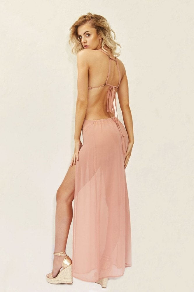 Candypants Outlet Plunge Chiffon Holiday Maxi Dress in Pink