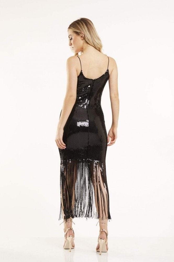 Candypants Outlet Black Sequin Tassel Dress