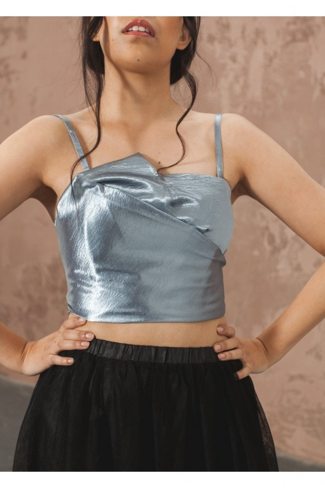 The Naked Laundry Pleated Bandeau Crop Top - Stormy Grey