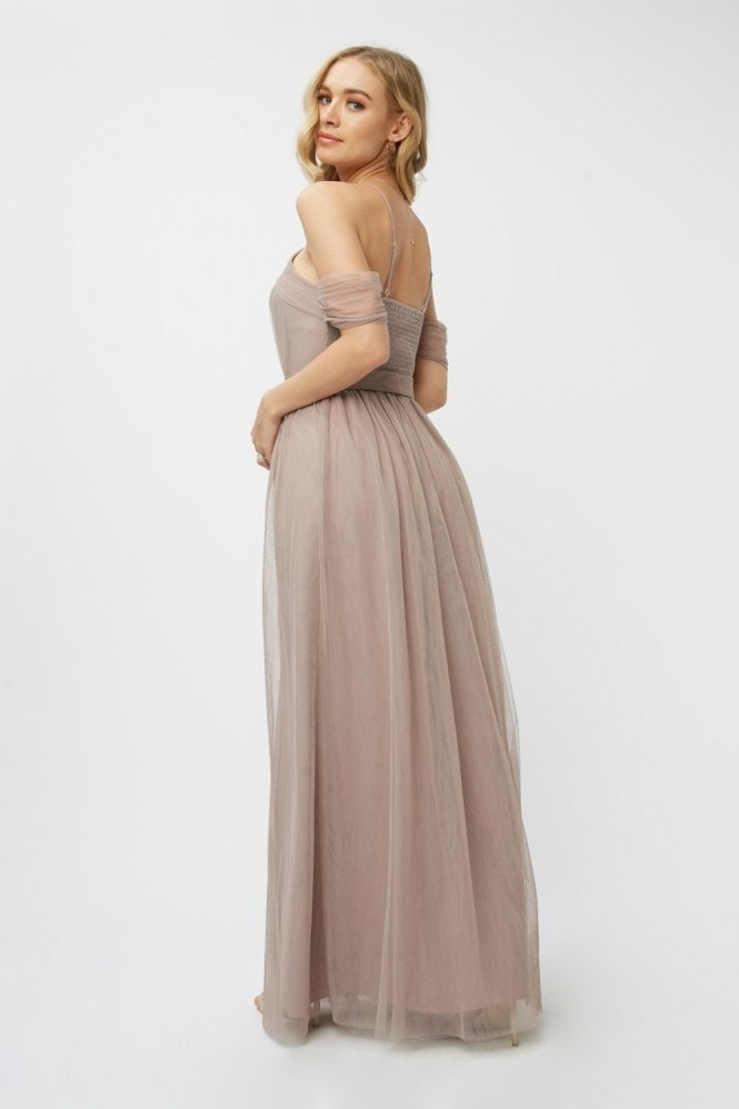 Little Mistress Bridesmaid Leonora Oyster Embellished Belted Maxi Dress