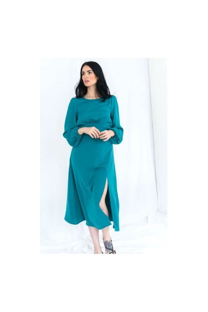 Haus Of Deck Long Sleeve Backless Green Midi Dress with Split