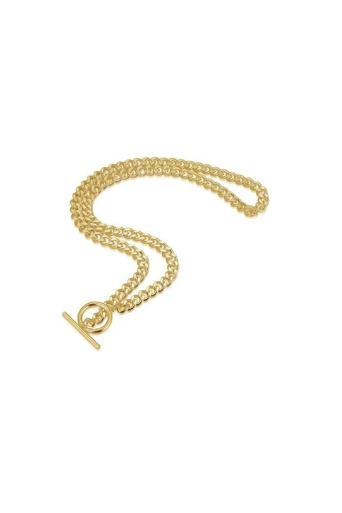 Haus Of Deck 18k Gold Plated T-Bar and Circle Chain Necklace