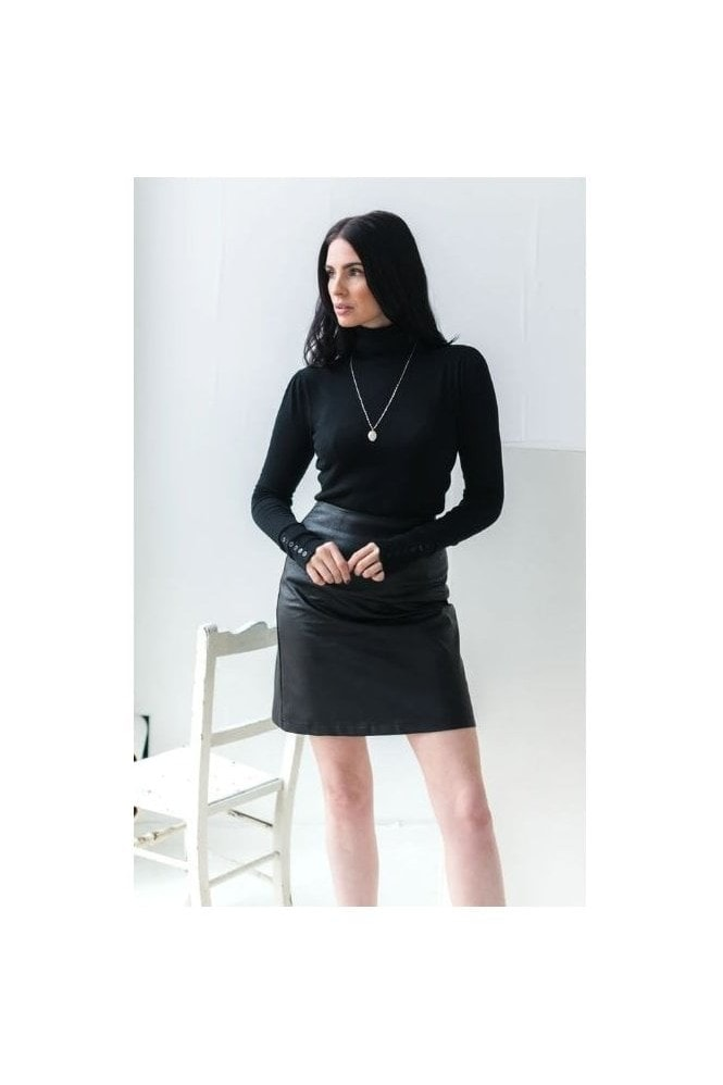 Haus Of Deck Black Faux Leather Skirt