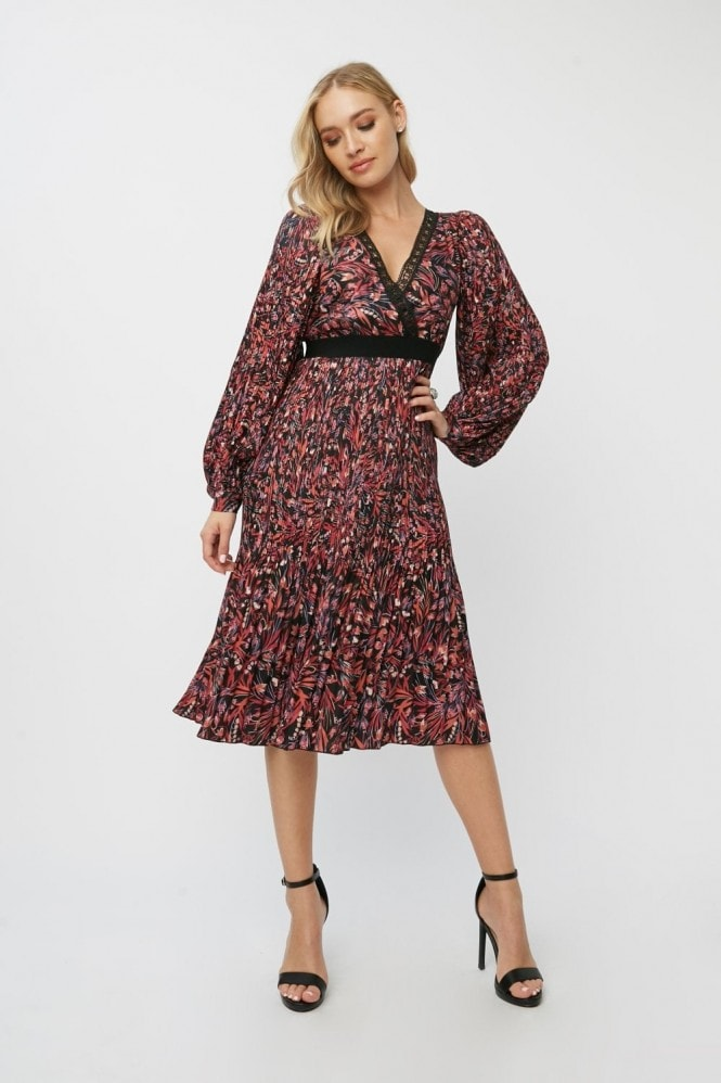 Little Mistress Rocco Paisley-Print Pleated Midi Dress