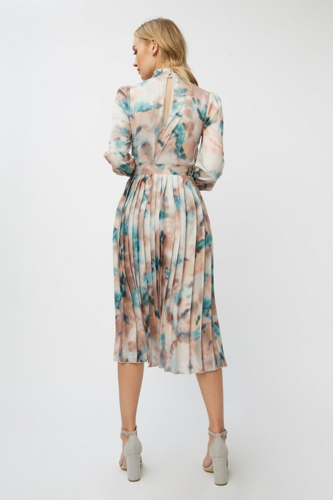 Little Mistress Mishka Agate-Print Belted Midi Dress