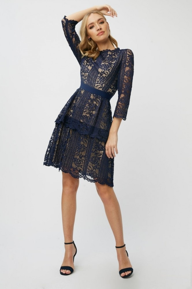 Little Mistress Aliza Navy Contrast Lace Tiered Dress