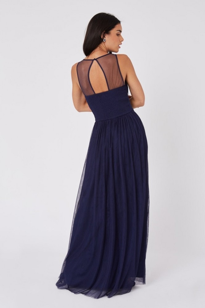 Little Mistress Bridesmaid Sonja Navy Hand-Embellished Sweetheart Maxi Dress