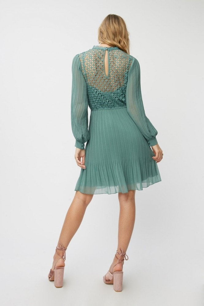 Little Mistress Layla Nile Blue Crochet Pleated Mini Dress