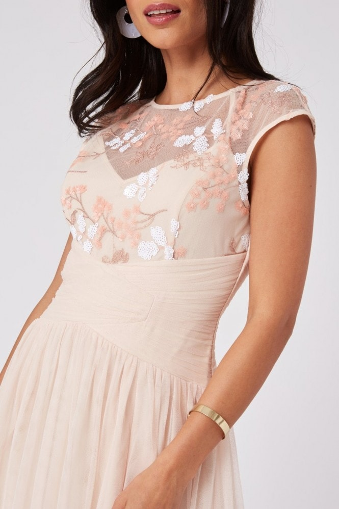 Little Mistress Bridesmaid Cindy Nude Floral-Embroidered