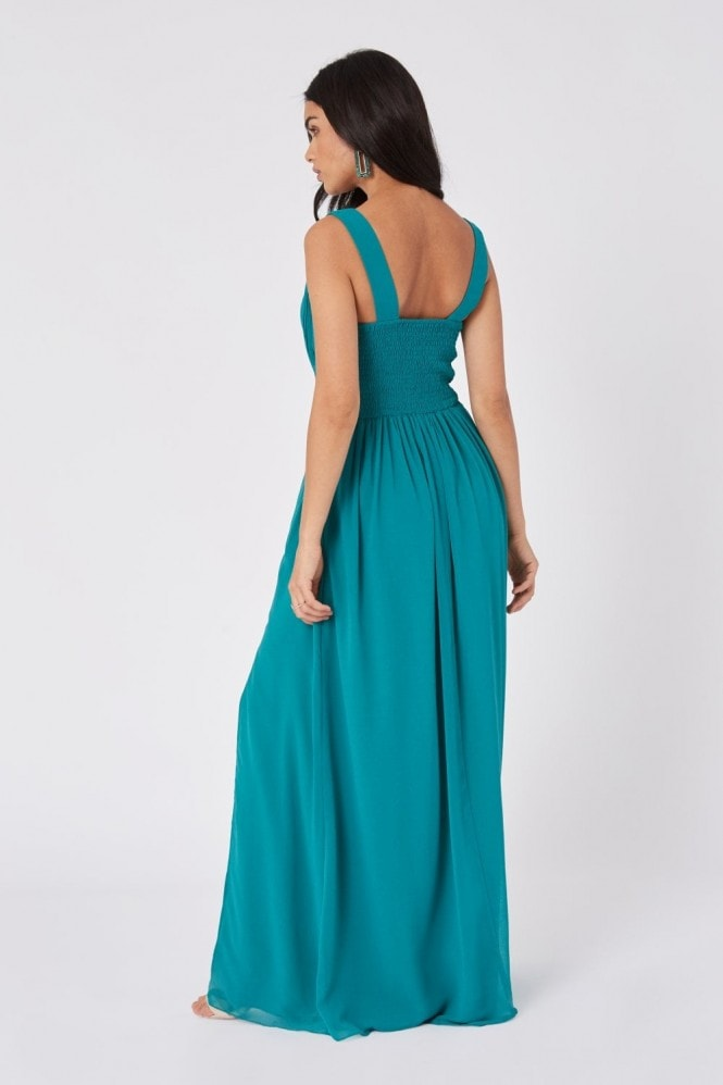 Little Mistress Bridesmaid Halston Aquatic Jade Lace-Applique Maxi Dress