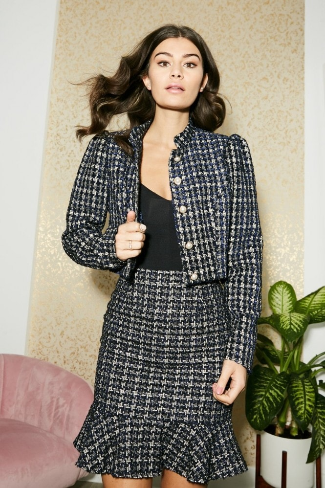 Paper Dolls Rossa Navy Boucle Pearl Detail Cropped Jacket