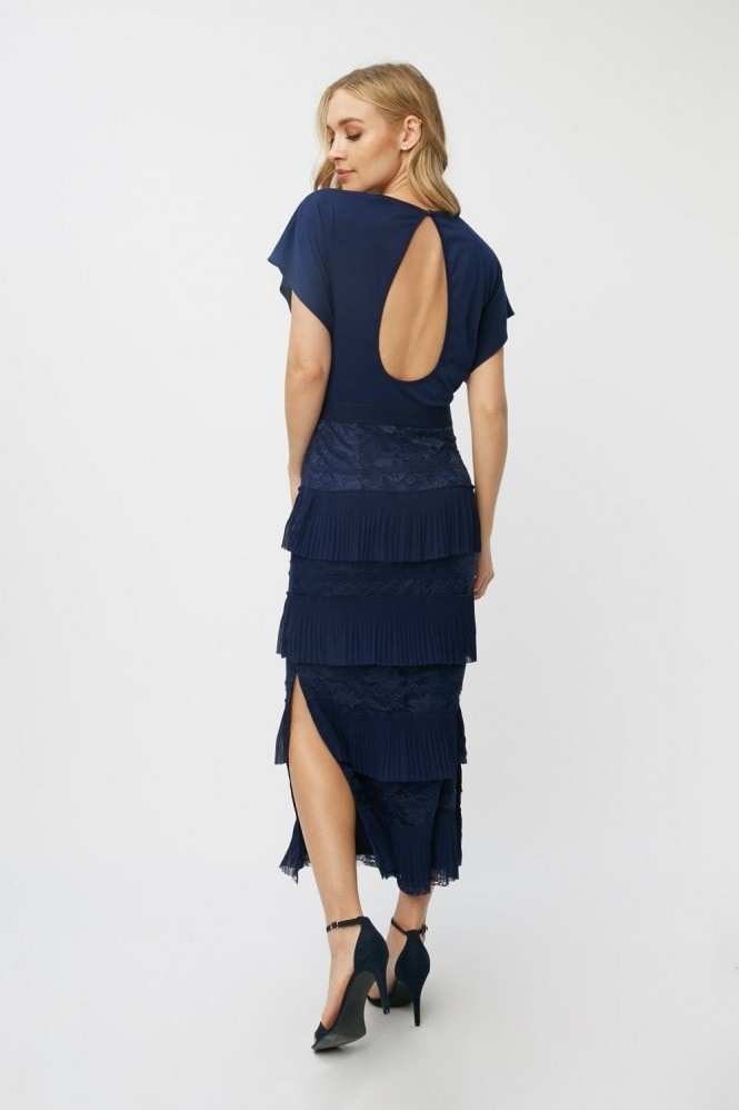 Little Mistress Aliza Navy Tiered Lace Midaxi Dress